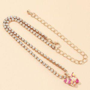 3/$20 Rhinestone Resin Butterfly Choker Necklace